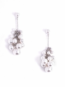 Pearly Cluster Earrings Silver Pearl