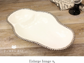 Porcelain Salerno 2 Section Dish White