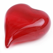 Red Double Sided Art  Glass Heart