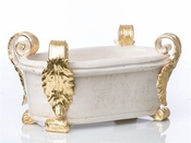 Roma Collection, Oval Centerpiece with Gold Acanthus Leaves