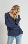 Romeo Peasant Top - Navy - 70% OFF CLOSEOUT