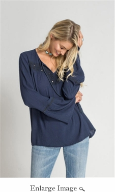 Romeo Peasant Top - Navy - CLOSEOUT