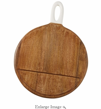 Mud Pie Round Wood Board With Enameled Handle