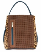 Samoe Style Cocoa Perforated Cheetah Leather Haircalf Denim Handle Classic