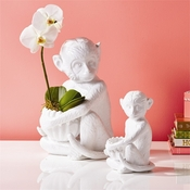 Ceramic Monkeys, White, 2-Piece Set