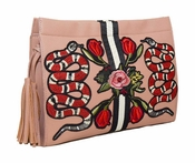 SOLD OUT Inzi Designer Bag: Snakes & Roses Clutch - Nude