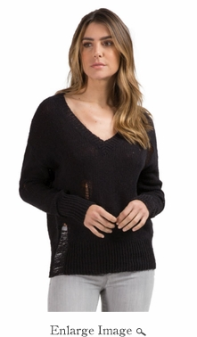 Soho Distressed Sweater - Black - 70% OFF CLOSEOUT
