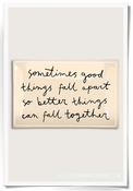 Sometimes Things Fall Apart Script Decoupage Glass 4x6 Tray