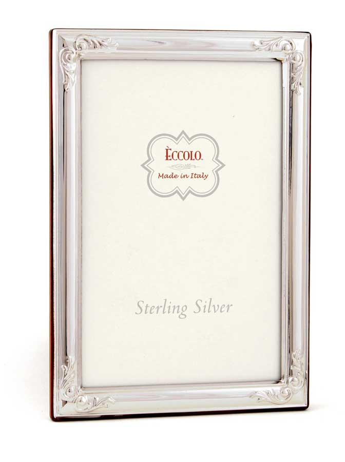 Sterling Silver Frame Flowered Corners 8x10 - Made in Italy