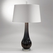 Studio-A by Global Views Black Ribbed Glass Lamp with Silk Shade