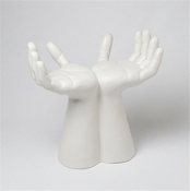 Studio-A by Global Views Hands Stool-Matte White