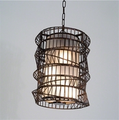Studio A by Global Views Helix Pendant-Bronze w/Frosted Glass