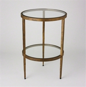 Studio-A by Global Views Laforge Two Tiered Side Table-Antique Gold