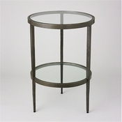 Studio-A by Global Views Laforge Two Tiered Side Table-Iron & Braised Brass