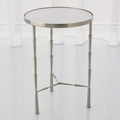 Studio-A by Global Views Spike Accent Table-Antique Nickel w/White Marble Top
