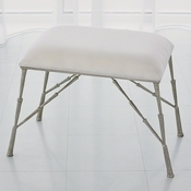 Studio-A by Global Views Spike Bench-Antique Nickel with Muslin Cushion