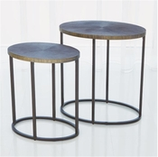Studio-A by Global Views Striated Accent Table-Graphite-Large