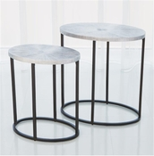 Studio-A by Global Views Striated Accent Table-Nickel-Large