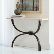 Studio A by Global Views Teton Console-Bronze w/Travertine Top