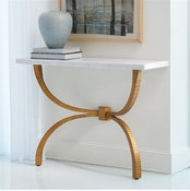 Studio A by Global Views Teton Console-Gold w/White Marble Top