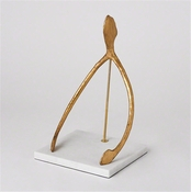 Studio-A by Global Views Wish Sculpture-Gold Leaf & White Marble Base