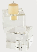 Tizo Crystal Glass Cubes Reversible Candleholder Small