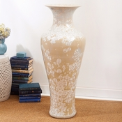 Tozai Home - Classic Urn With Mother Of Pearl Effect - Porcelain - Truck Shipping