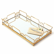 Tozai Home - Luxembourg Mirrored Decorative Tray With Antiqued Finish