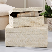 Tozai Home - Set of 2 Basketweave Bone Boxes
