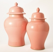 Tozai Home Set of 2 Blush Temple Jars