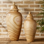 Tozai Home - Set of 2 Covered Temple Jars