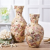 Tozai Home Set of 2 Mosaic Shell Vases