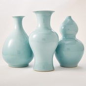 Tozai Home Set Of 3 Aquamarine Vases