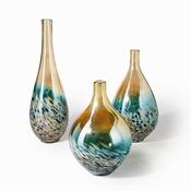 Tozai Home - Sunset Set of 3 Lustrous Turquoise and Amber Teardrop Vases
