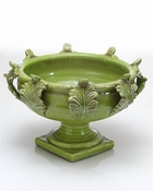 Vinci Centerpiece, Acanthus Leaf Decor, Green, Large