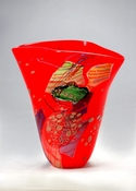 Viz Art Glass Color Mosaic Red Vase with Multi Effect