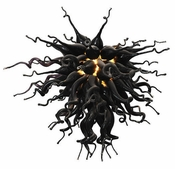 Viz Art Glass Large Obsidian Chandelier
