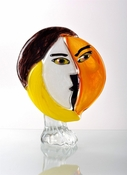 Viz Art Glass Pikasso Amber White Yellow and Black