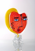 Viz Art Glass Pikasso Red with Yellow Hair