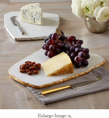 White Marble Cheese Board With Knife - Silver