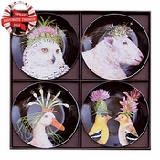 WILD & WOOLY APPETIZER PLATE SET OF 4 - CLOSEOUT