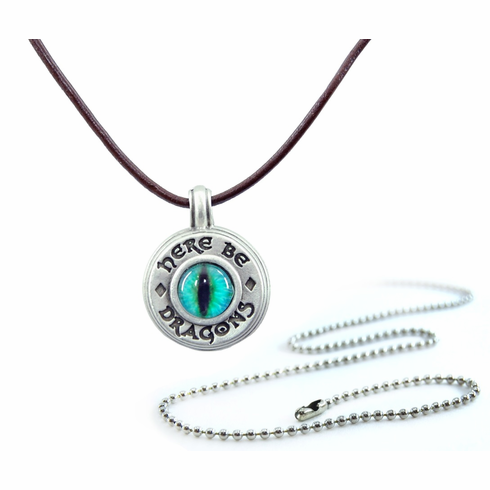 Pewter Dragon Eye Compass Necklace