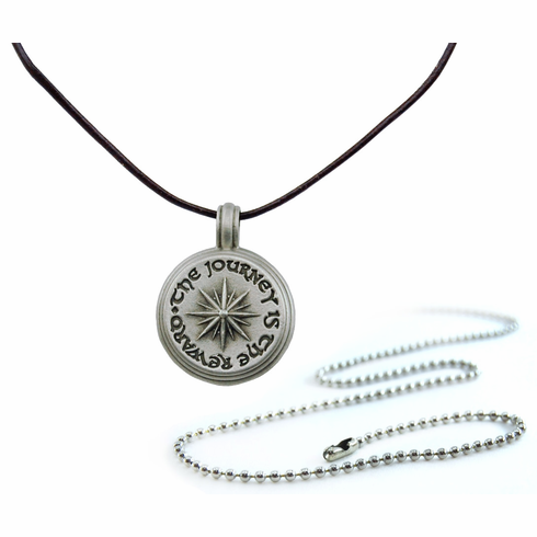 Pewter Journey Compass Rose Necklace