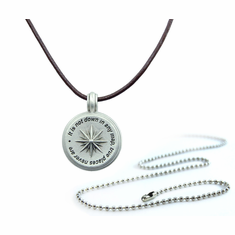 Pewter Melville Quote Compass Necklace