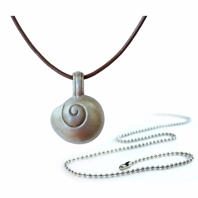 Pewter Shell Compass Pendant Necklace