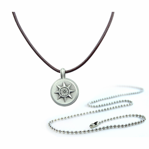 Pewter Small Compass Necklace