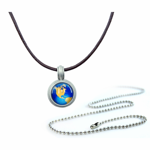 Pewter World Map Compass Necklace
