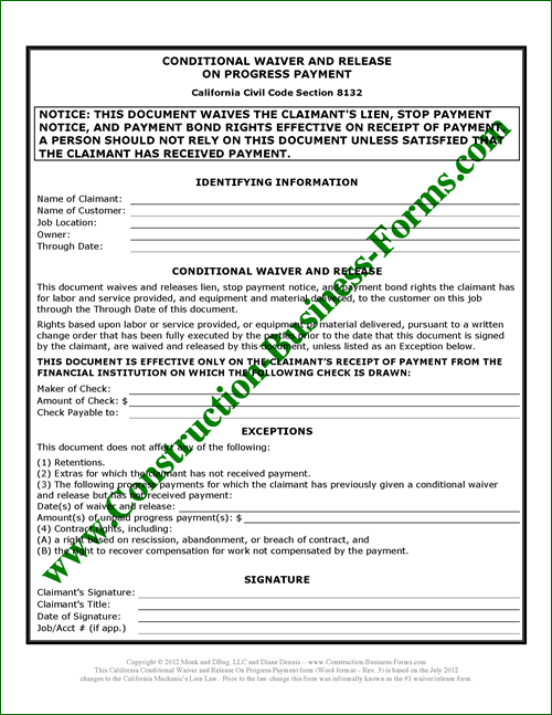 California Conditional Upon Progress Lien Waiver Release (#1) Form