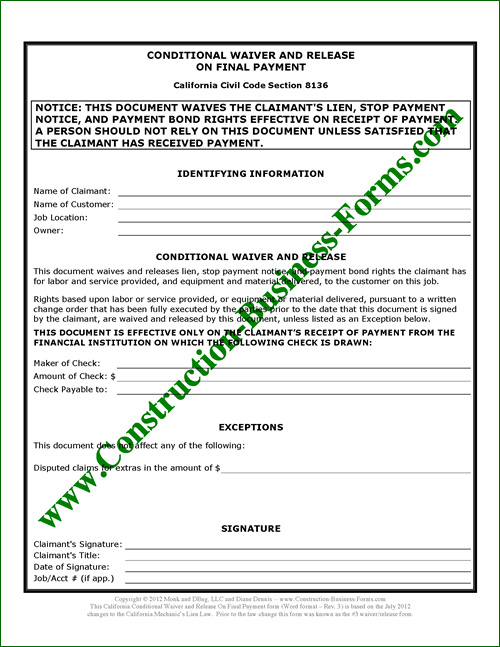 3 California Lien Waiver and Release form Upon Final Payment