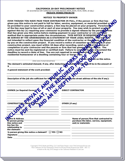 Preliminary Lien Notice Forms Package (includes Private and Public ...